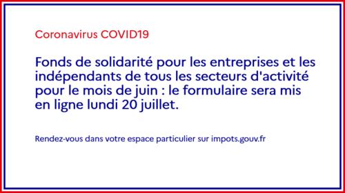 Le fonds de solidarité: Prime de 1500€ est ouvert pour le mois de juin à toutes les entreprises
