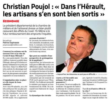 Parution du Président Mr. Christian POUJOL dans le Midi Libre de Montpellier du samedi 19 septembre 2020