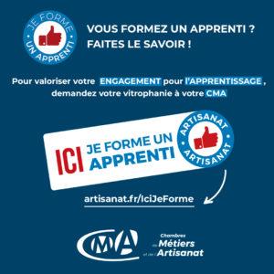 """Campagne Nationale des Chambres de Métiers : """"Ici, je forme un apprenti"""""""