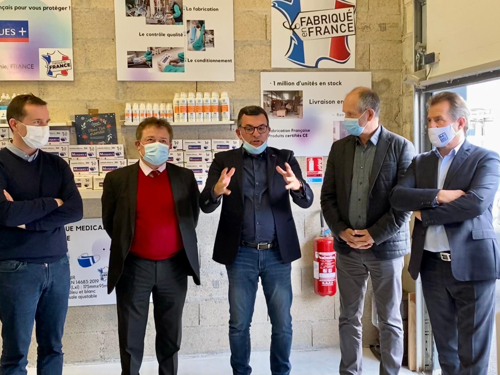 Christian POUJOL soutien l'entreprise MASQUE + à Lunel-Viel