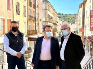 Le Président de la CMA34 Christian POUJOL accompagné de Francis BARSSE le maire de Bédarieux et André GARCIA artisan taxi pour une réunion de travail