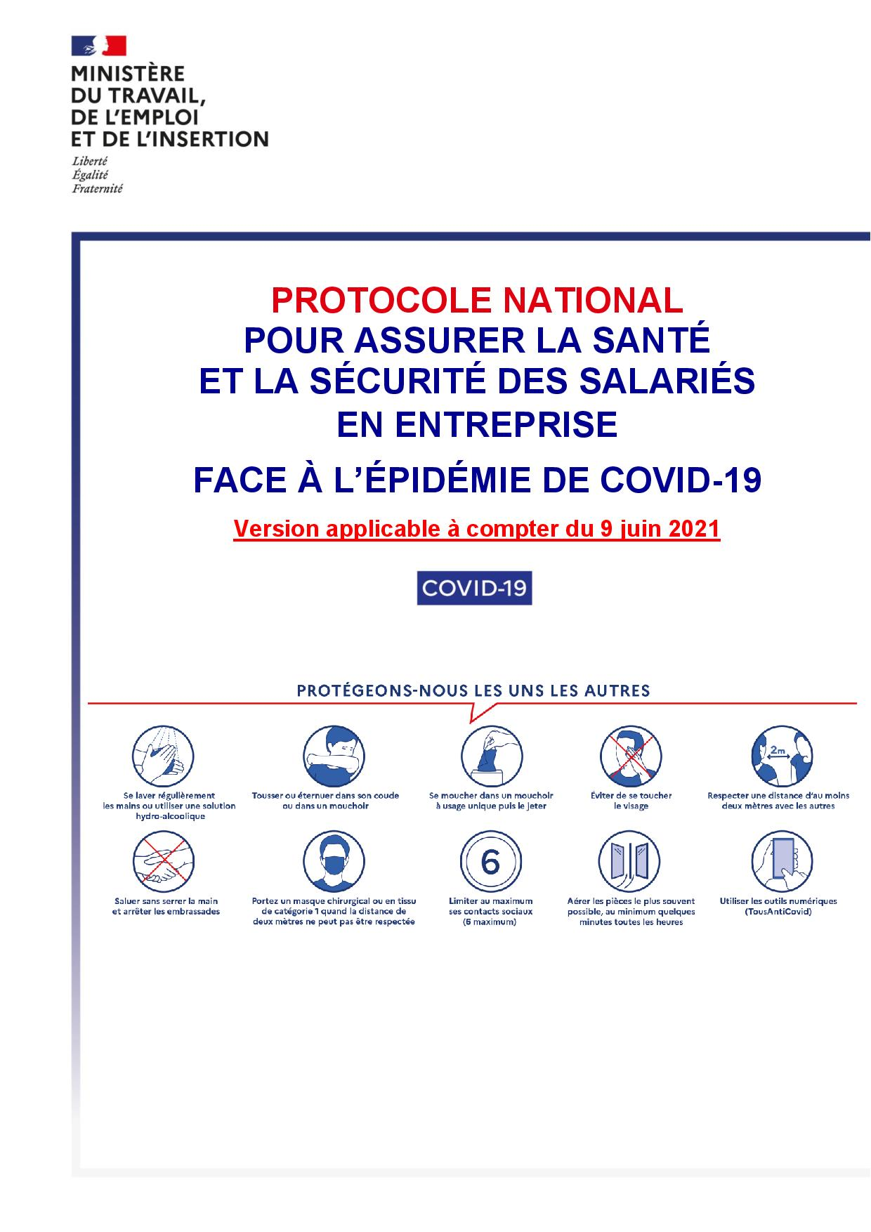 Protocole national sanitaire renforcé au sein des entreprises